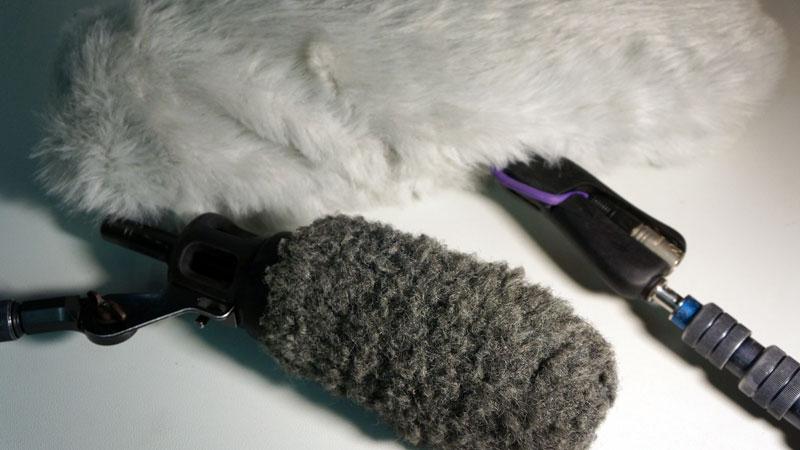 Mikrofone mit Windschutz für Fernsehproduktion