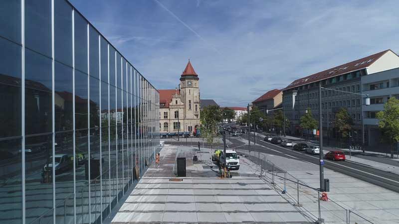 Mit Kameradrohne gemachte Luftaufnahme in Dessau